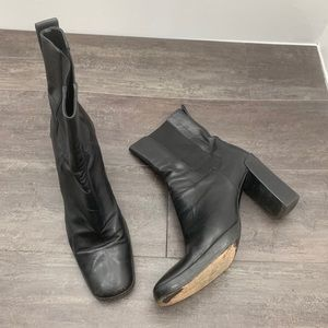 Gucci Black Leather Square Toe Chunky Bootie 8.5